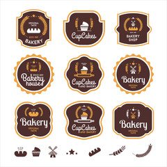 Bakery logotypes set. Bakery typography, logos, badges, labels, icons and objects