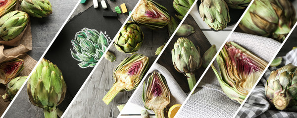 Collage of photos with tasty artichokes