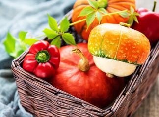 Autumn arrangement of pumpkins - basket with vegetables
