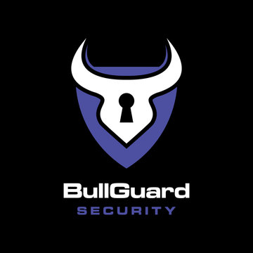 bull horn with lock guard shield logo icon vector template