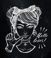 Vector illustration. Retro girl with hand gesture, Loser. Handmade, prints on T-shirts, tattoos, background chalkboard