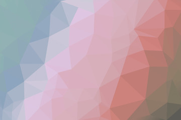 soft coral, brown and blue coloured gradient triangle background, abstract polygon pattern - illustration