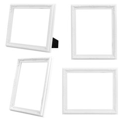Multiple of Vintage White Wood Frame ISOLATED on White Background.