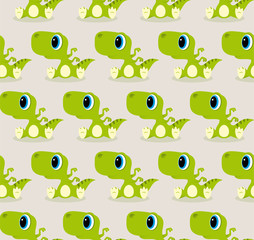 Vector seamless texture cartoon sitting baby Dinosaur