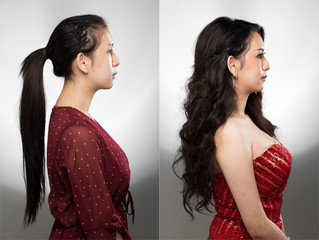 Asian Woman before after applying Pageant make up long sized curls, Brushed to one side hair style. no retouch comparison left right, fresh face. Studio lighting white background, aesthetics treatment