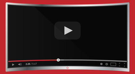 Realistic modern curved 4k TV monitor isolated on red background. Classic video player template on screen. Online video watching conecpt. Vector illustration