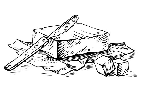 sketch hand drawn piece of butter wrapped in paper wrap and butterknife on white background vector
