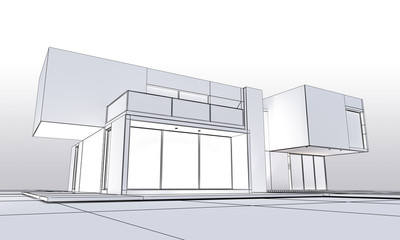 Cubic modern house outline