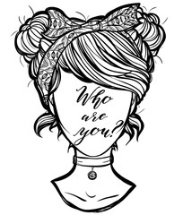 Vector illustration. Faceless image of a retro girl,lettering. Handmade, prints on T-shirts, tattoos, background white