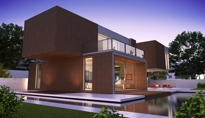 Modern luxurious house with wood