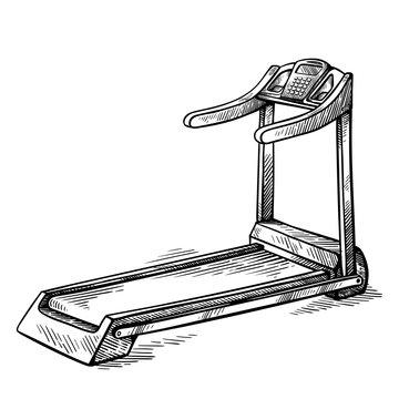 sketch hand drawn gym equipment machine treadmill