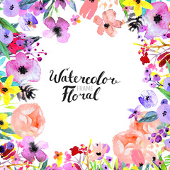 Watercolor Flower Border