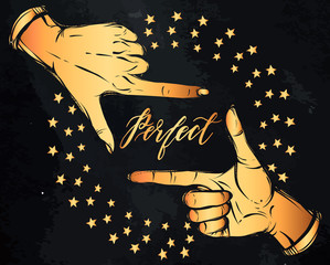 Vector illustration. Hand gesture,lettering, perfect. Handmade, prints on T-shirts, tattoos, gold color, background chalkboard,hand in the tattoo