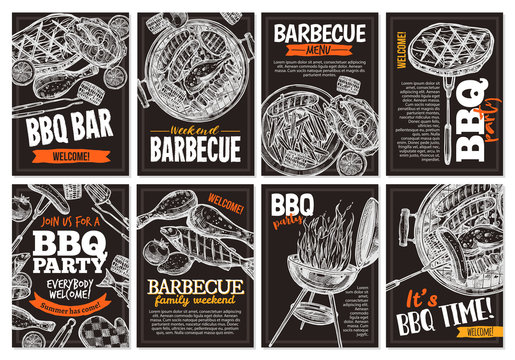 Set of vector hand drawnbarbecue posters with grilled food, sausages, chicken, french fries, steaks, fish, BBQ bar and party welcome. Collection of trendy sketch cards with typographic on the chalkboa
