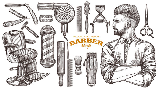 Vector collection of hand drawn barbeshop tools and accessories with hipster model man. Sketch vintage illustration of shaving and hairdresser equipments: razor, comb, scissors, barber shop pole