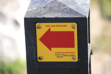 Direction sign for hiking route  Hof van Delfland in Monster the Netherlands