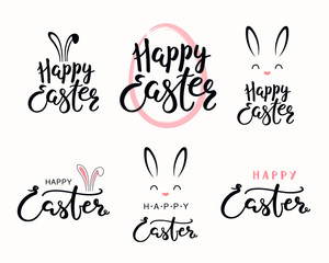 Set of hand written calligraphic lettering quotes Happy Easter, with egg outline, bunny face. Isolated objects on white background. Hand drawn vector illustration. Design concept for card, banner.