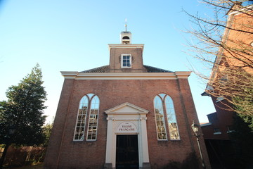Small reformed church from 1726 in the center of Voorburg in the Netherlands