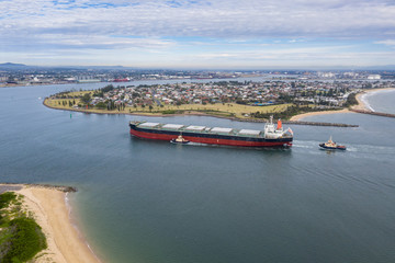 Coal Ship entering Newcastle Port - Newcastle NSW Australia