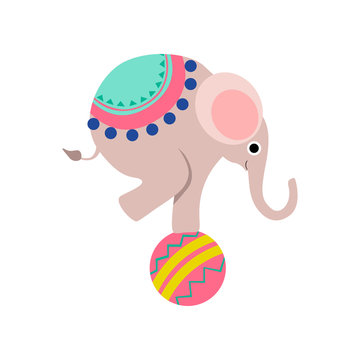 Elephant Balancing on Colorful Ball, Cute Funny Animal Performing in Circus Show Vector Illustration