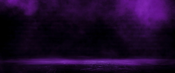 Fotomurales - Dark empty room, old brick walls, concrete floor, smoke, pyal, smog. Violet abstract light, night view.