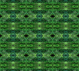 Scientific green abstract networking background palm leaves kaleidoscope design