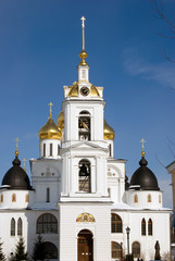 Dormition church. Kremlin in Dmitrov, old historical town in Moscow region, Russia. Color winter photo. Popular landmark.