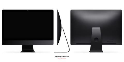 computer monitor mockup in black color view front, back and side