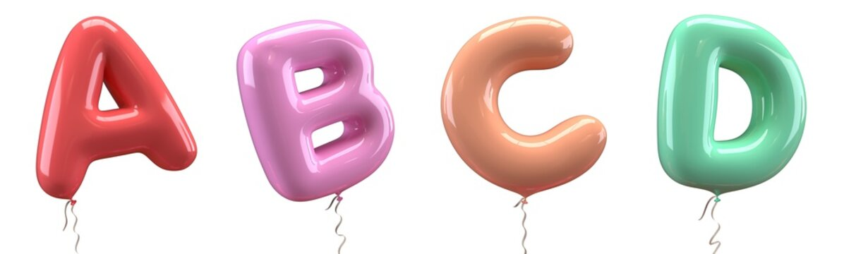 Brilliant balloons font. Alphabet letter a, b, c, d, made of realistic elastic color rubber balloon. 3D illustration for your extraordinary balloon decoration in several concepts idea in many occasion