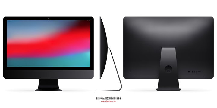 computer monitor mockup in black color with colorful screen view