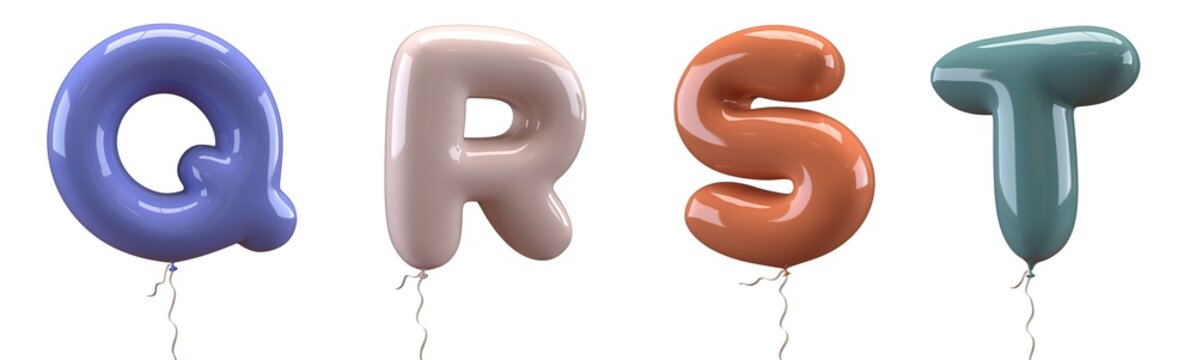 Brilliant balloons font. Alphabet letter q, r, s, t, made of realistic elastic color rubber balloon. 3D illustration for your extraordinary balloon decoration in several concepts idea in many occasion