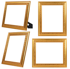 Multiple of Gold Vintage Frame ISOLATED on White Background.