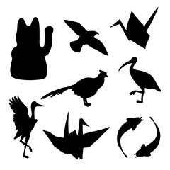 Set of traditional japanese animals silhouettes