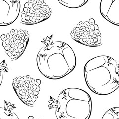 Pomegranate  black and white seamless pattern. Vector monochrome illustration of fruits.