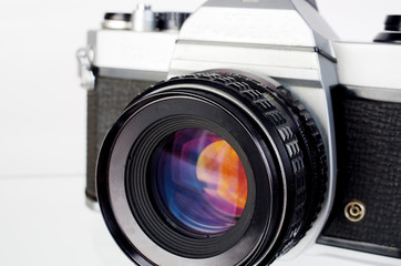 Classic SLR camera. Close-up