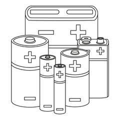 Line art black and white battery set