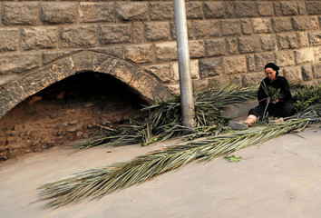 A woman dries palm branches behind the wall of Fustat Aqueduct, also known as Sour Magra El Oyoun in Cairo