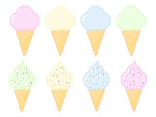 Set of cartoon ice cream icons isolated on the white background