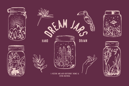 Hand drawn mason jars with dream scenarios of tropical jungles, diamonds in space and mountains.