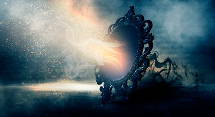 Mirror magic, fortune telling and fulfillment of desires. Fantasy with a mirror, dark room, magical power, night view. Wall mural