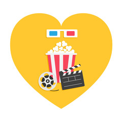 3D paper red blue glasses. Open clapper board Movie reel Popcorn Heart shape. I love cinema icon set. Flat design style. Yellow background. Isolated.