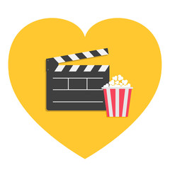 Big open clapper board Popcorn Heart shape. I love. Cinema Movie icon sign symbol set. Red white lined box. Flat design style. Yellow background.