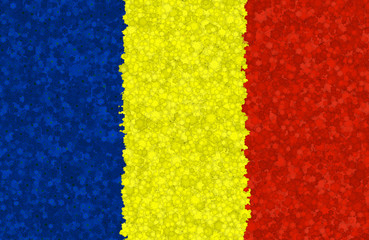Graphic illustration of a Romanian flag with a flower pattern