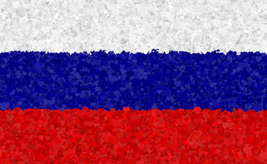 Graphic illustration of a Russian flag with a heart pattern
