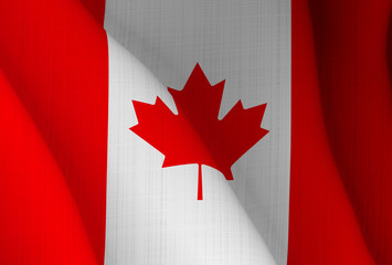 Graphic illustration of a flying Canadian flag enlightened from the left