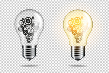 Wall Mural - Set of transparent realistic light bulb with cogwheels, isolated.