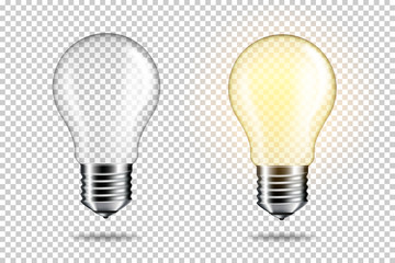 Wall Mural - Transparent realistic empty light bulb, isolated.