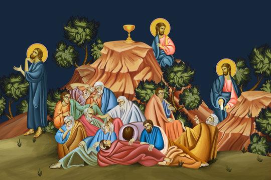The Agony in the Garden of Gethsemane. Illustration - fresco in Byzantine style.