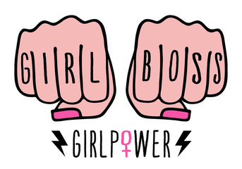 girl boss, female hands, girl power, vector Fototapete