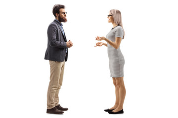 Man and woman standing and talking Fotobehang